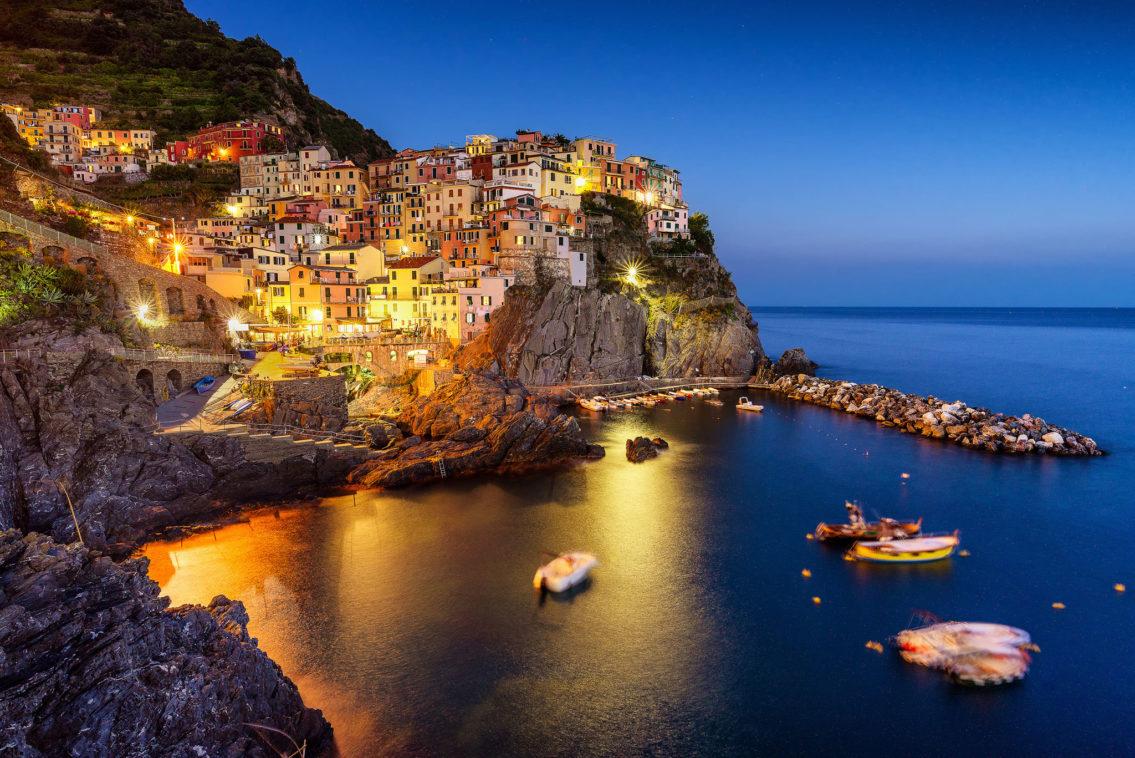 Manarola at blue hour Cinque Terre Italy cityscape