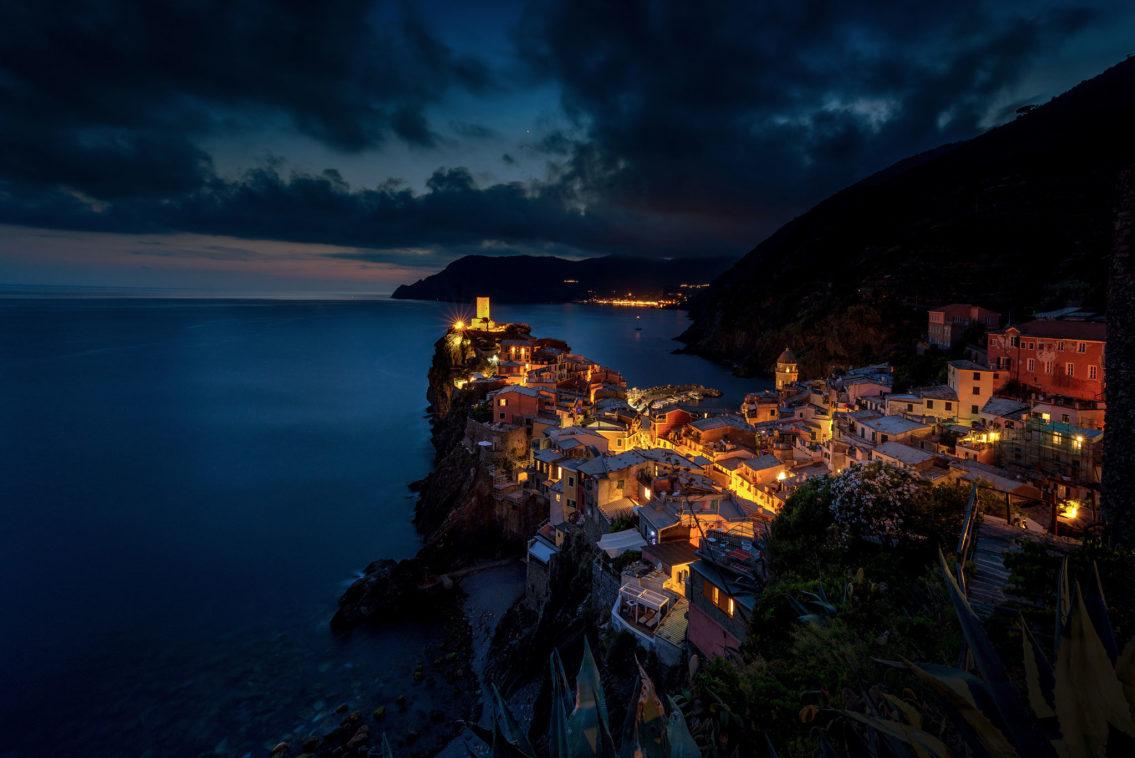 Night Vernazza Cinque Terre Italy cityscape