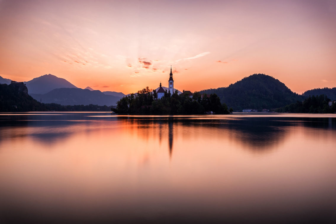 Sunrise on Lake Bled Slovenia landscape