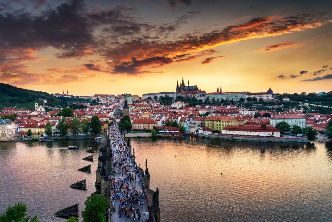 Sunset in Prague cityscape
