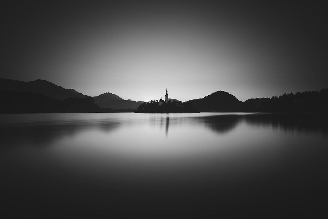 Bled Lake black and white