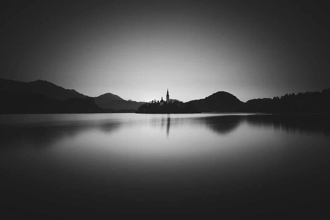 Bled Lake black and white
