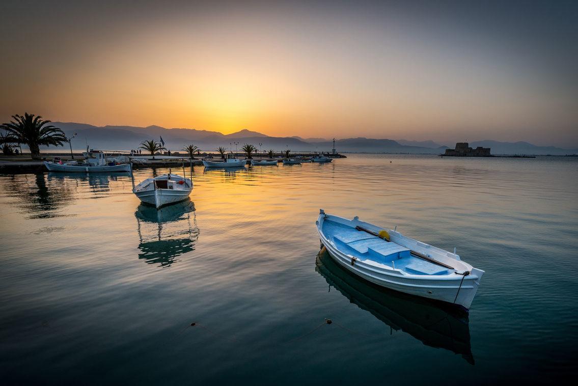 Boats in Nafplio Greece landscape