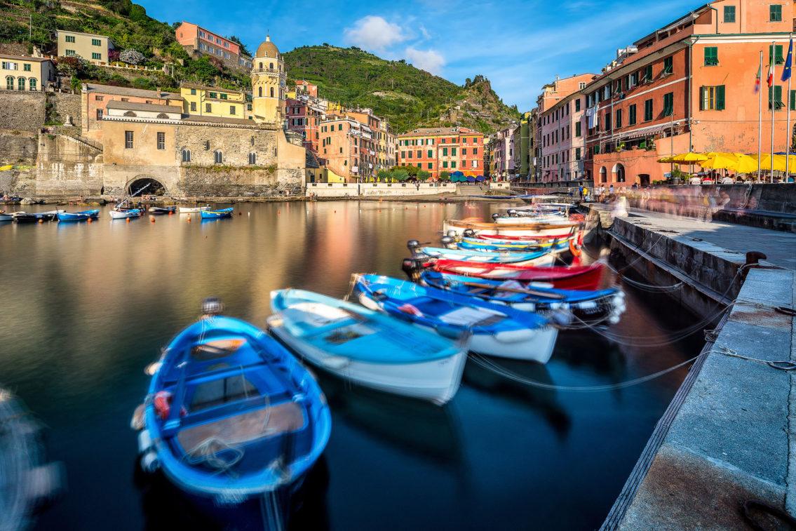 Boats in Vernazza Cinque Terre Italy cityscape