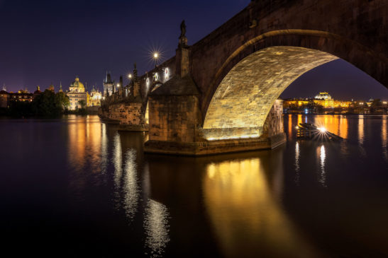 Charles Bridge reflection Prague cityscape