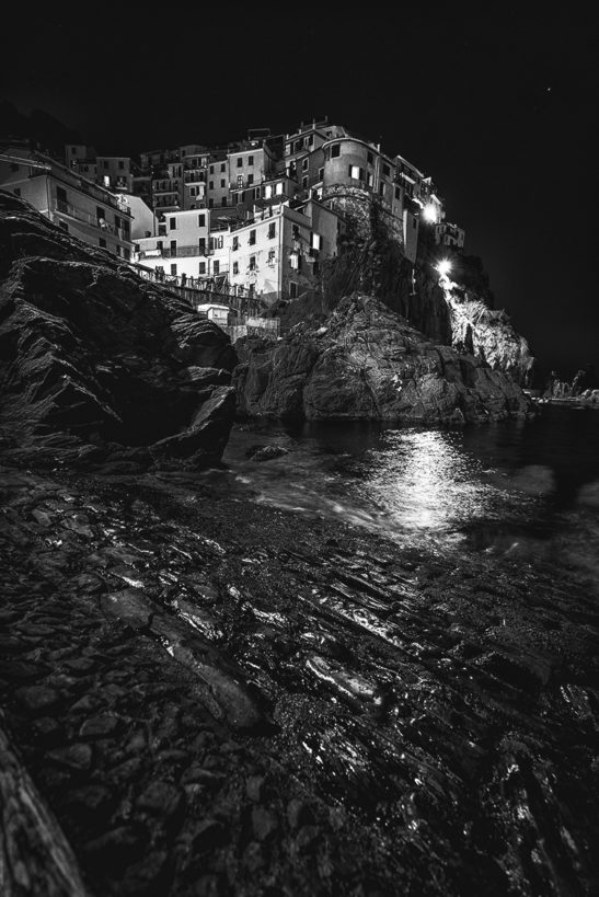 Cold night Manarola Cinque Terre Italy black and white