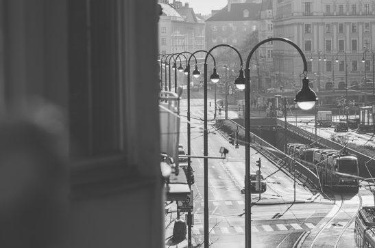 Daylights in Vienna black and white