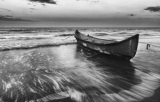 Fisherman's boat Romania black and white