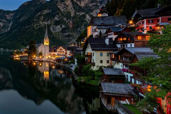 Night in Hallstatt Austria cityscape