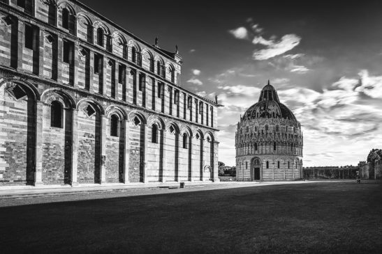 Pisa Baptistery Italy black and white