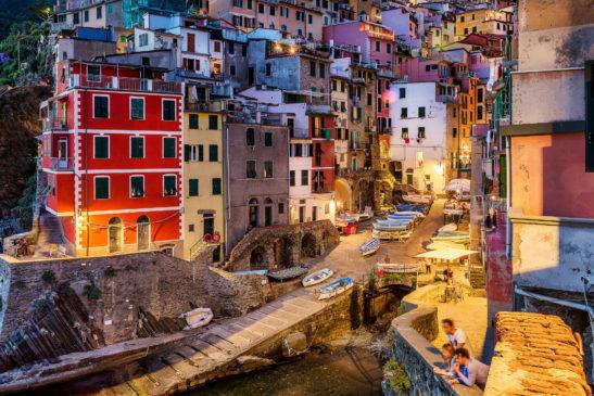 Riomaggiore at night Cinque Terre Italy cityscape