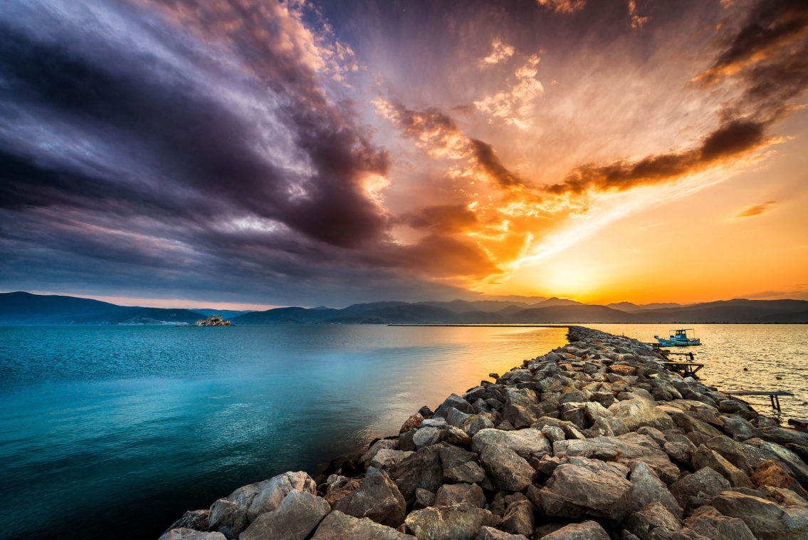 Sunset in Nafplio Greece landscape