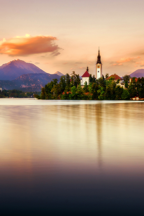 Sunset on Lake Bled landscape