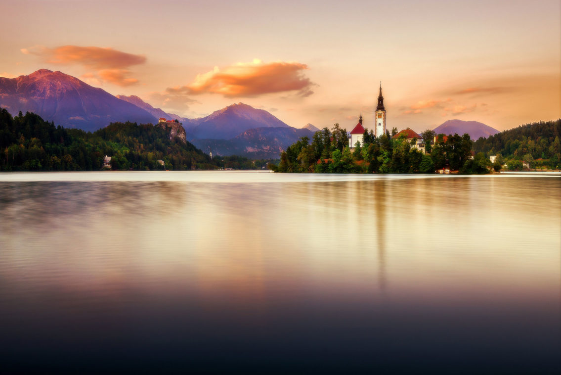 Sunset on Lake Bled Slovenia landscape