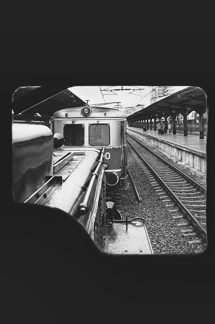 window to the past old train bucharest black and white
